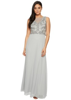 Adrianna Papell Sleeveless Beaded Bodice Gown with Sheer V-Neck Line