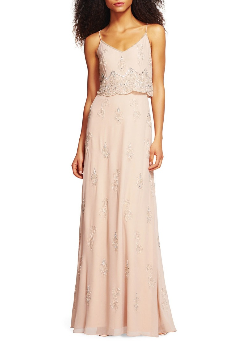 Adrianna Papell Sleeveless Beaded Popover Gown