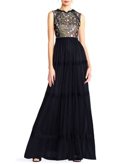Adrianna Papell Sleeveless Embroidered-Lace Tiered Gown