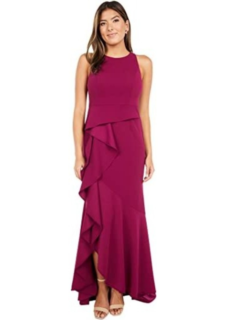 Adrianna Papell Sleeveless Long Knit Crepe Gown with Cascade Skirt Detail