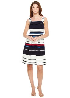 Adrianna Papell Sleeveless Ottom Stripe Fit and Flare Dress