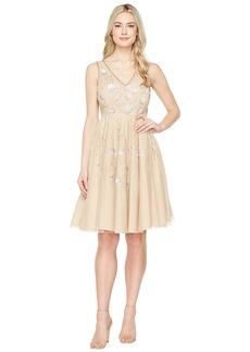 Adrianna Papell Sleeveless Tea Length Beaded Dress
