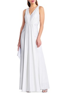 Adrianna Papell Sleeveless V-Neck Draped-Front Gown