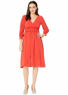 Adrianna Papell Smocked Midi 3/4 Sleeve Dress