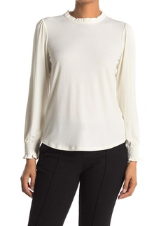 Adrianna Papell Solid Ruffle Mock Neck Long Sleeve Top