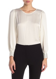 Adrianna Papell Solid Satin Scoop Neck Blouse