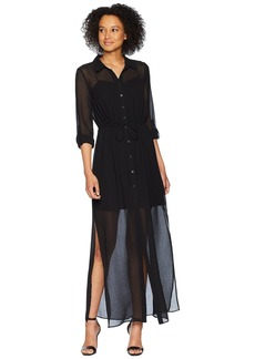 Adrianna Papell Spider Chiffon Shirt Maxi Dress