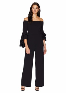 Adrianna Papell Statement Sleeve Stretch Crepe Jumpsuit