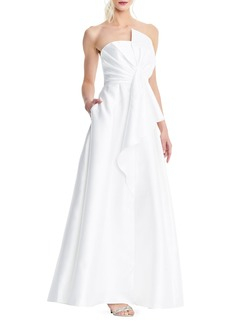 Adrianna Papell Strapless Bowed Mikado Dress