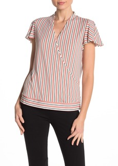 Adrianna Papell Striped Flutter Sleeve Faux Wrap Top