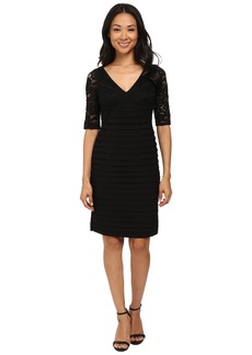 Adrianna Papell Striped Lace with Banded Jersey Dress