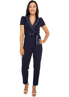 Adrianna Papell Suited Crepe Jumpsuit with Short Sleeves, Slim Pants, and Stretch Charmeuse Collar
