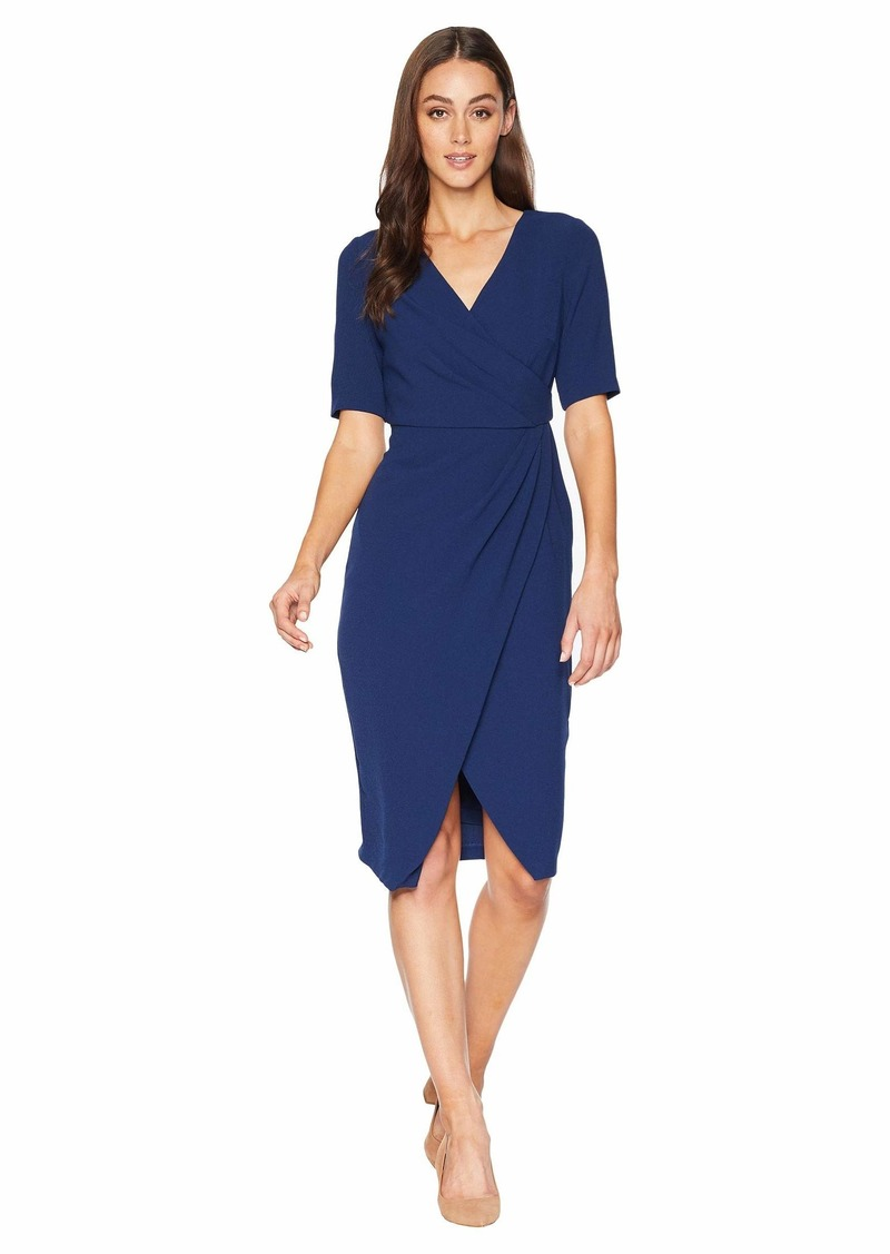 Adrianna Papell Texture Crepe Draped Wrap Dress