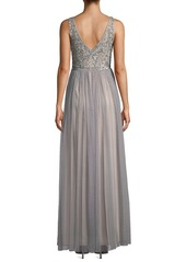Adrianna Papell Textured Chiffon Gown with Beaded Bodice