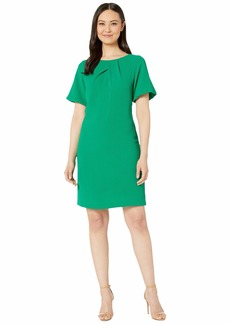Adrianna Papell Textured Crepe Dress with Draped Neckline and Puff Sleeves