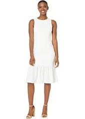Adrianna Papell Textured Crepe Flounce Dress
