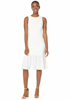 Adrianna Papell Textured Crepe Flounce Dress