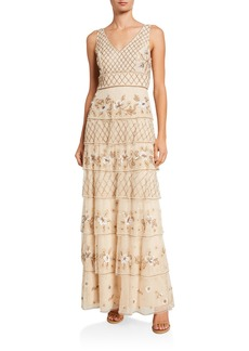 Adrianna Papell Tiered Floral Embellished Gown