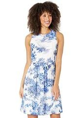 Adrianna Papell Toile Print Chiffon Jacquard Fit-and-Flare
