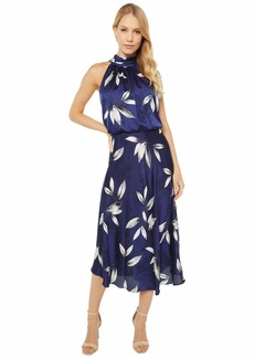 Adrianna Papell Tossed Leaves Halter Dress