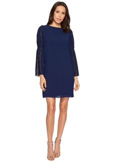 Adrianna Papell Trapeze Swing Dress with Lace Trimmed Bell Sleeves