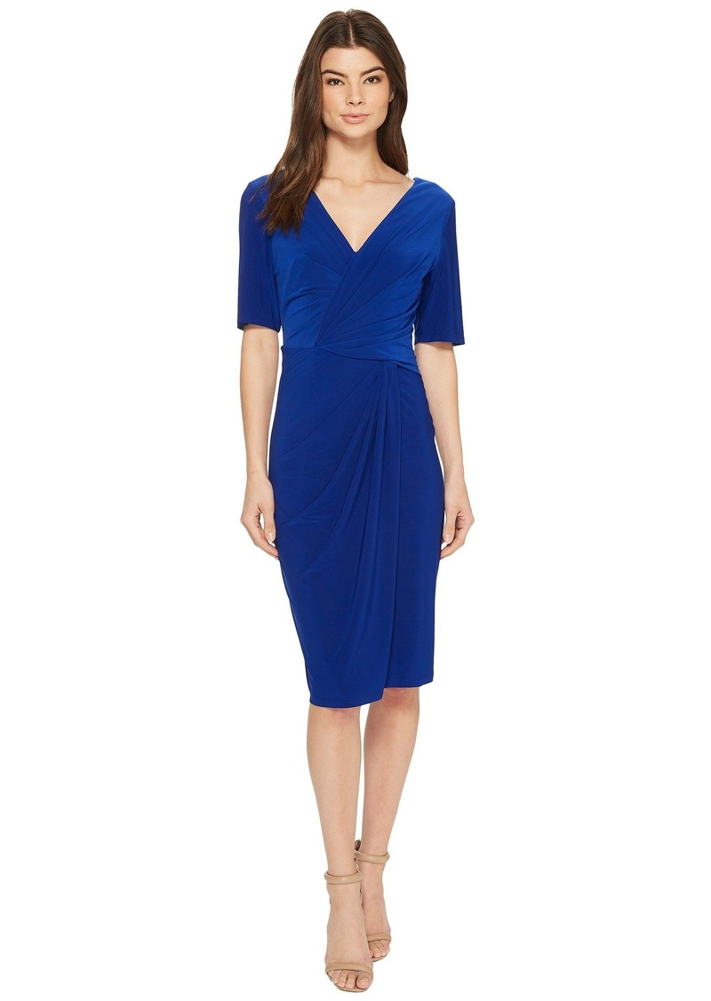 Adrianna Papell Twisted Draped Jersey Sheath