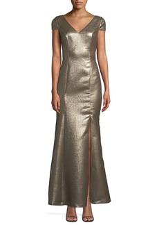 Adrianna Papell V-Neck Metallic Jacquard Mermaid Gown