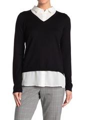 Adrianna Papell V-Neck Twofer Sweater