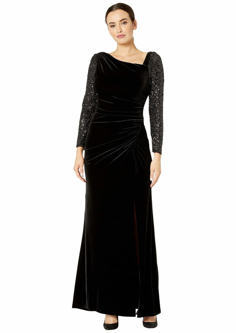 Adrianna Papell Velvet and Sequin Gown