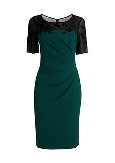 Adrianna Papell Velvet Appliqué Crepe Sheath Dress