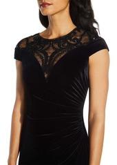 Adrianna Papell Velvet Mesh Yoke Dress