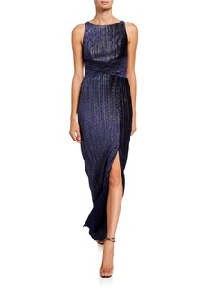 Adrianna Papell Velvet Pleated Column Dress