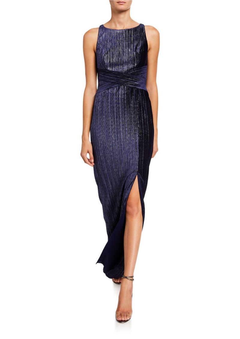 Adrianna Papell Velvet Pleated Column Dress