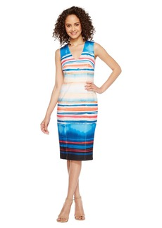 Adrianna Papell Washed Watercolor Stripe V-Neck Sheath Dress