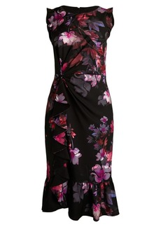 Adrianna Papell Watercolor Lilies Flounce Dress