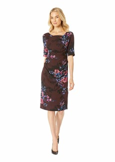 Adrianna Papell Wildflower Bouquets Printed Tiffany Twill Sheath Dress with Slim Elbow Sleeves