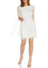 Adrianna Papell Beaded Cocktail Cape Dress