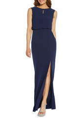 Adrianna Papell Beaded Shoulder Crepe Gown