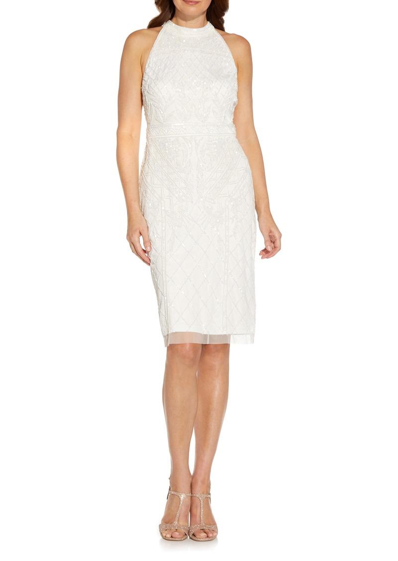 Women's Adrianna Papell Beaded T-Back Cocktail Sheath Dress