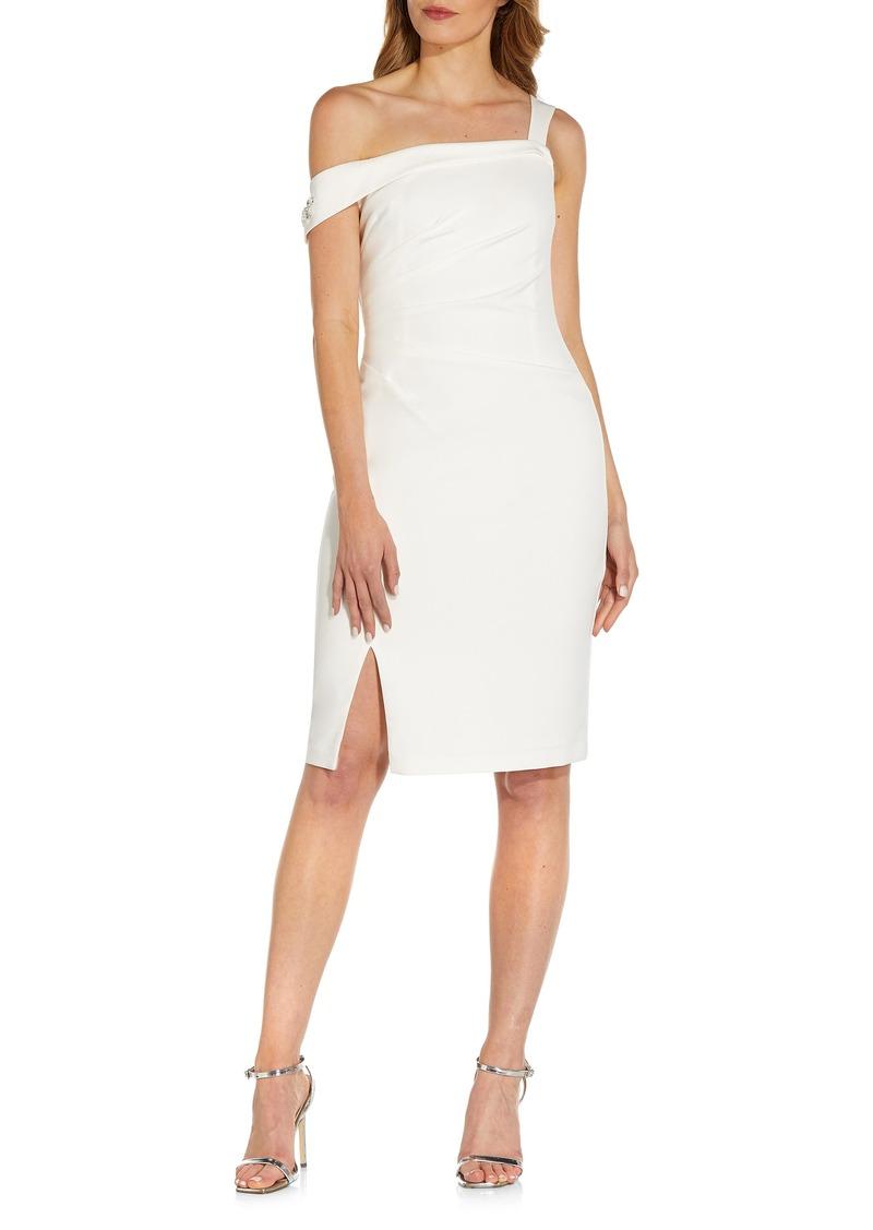 Women's Adrianna Papell Embellished One-Shoulder Crepe Dress