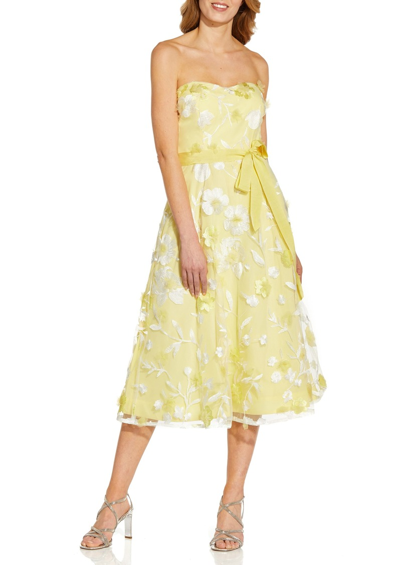 Women's Adrianna Papell Floral Embroidered Strapless Cocktail Midi Dress