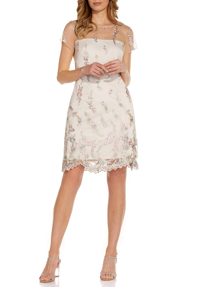Women's Adrianna Papell Floral Embroidery Illusion Lace Shift Dress