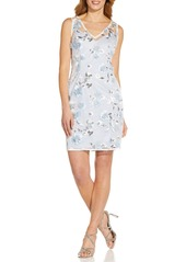 Adrianna Papell Floral Embroidery Sleeveless Sheath Dress