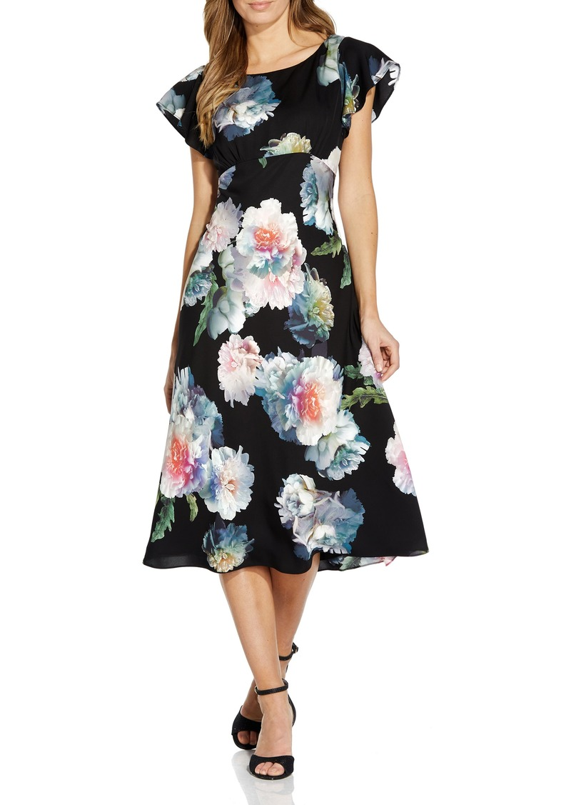 Women's Adrianna Papell Floral Fit & Flare Crepe De Chine Midi Dress