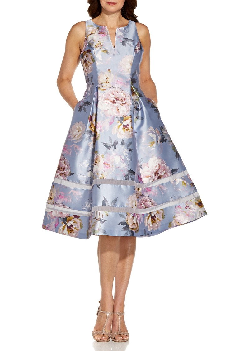 Adrianna Papell Floral Mikado Fit & Flare Midi Dress