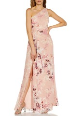Women's Adrianna Papell Floral One-Shoulder Chiffon Gown