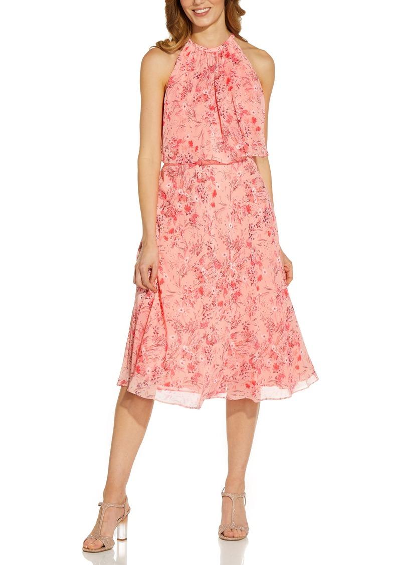 Women's Adrianna Papell Floral Popover Chiffon Midi Dress