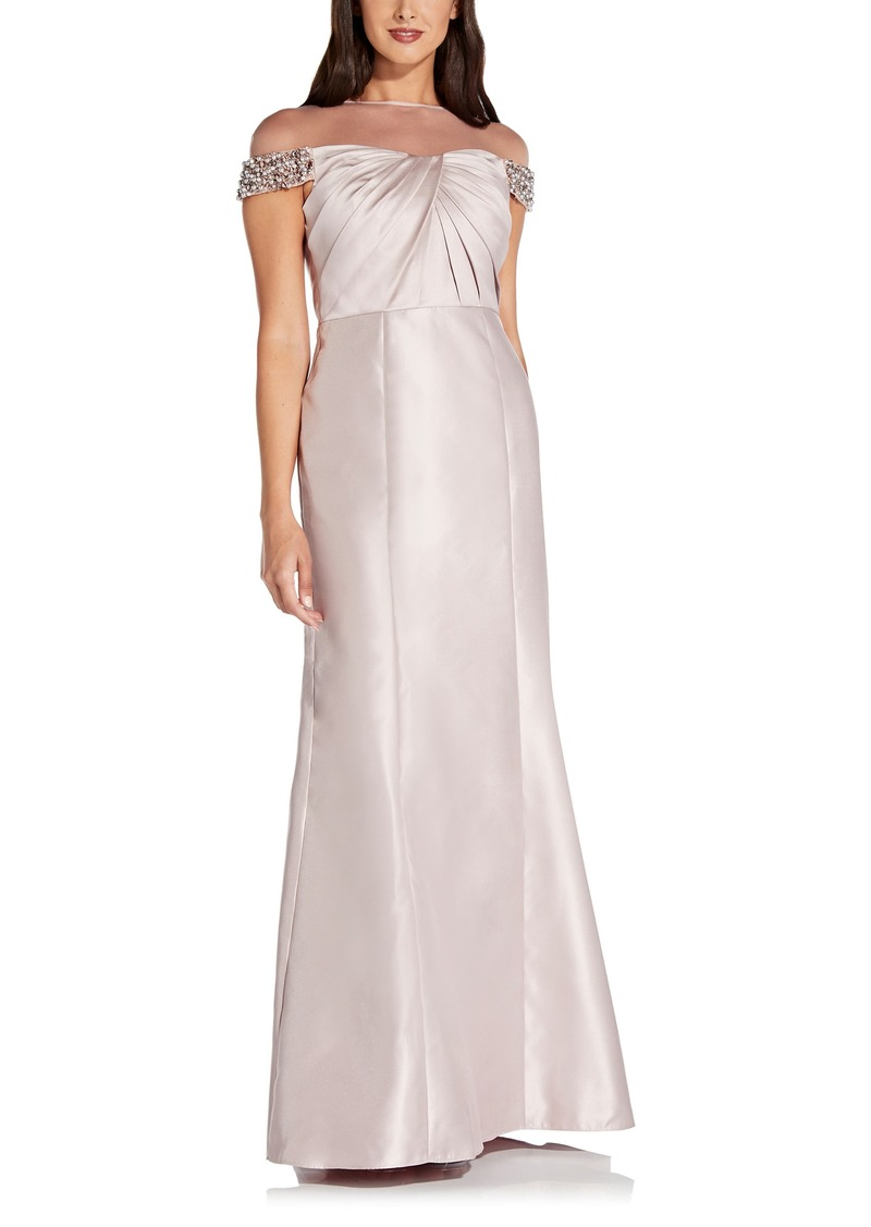 Women's Adrianna Papell Illusion Embellished Mikado Trumpet Gown