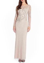 Women's Adrianna Papell Long Sleeve Beaded Column Gown
