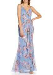 Women's Adrianna Papell Metallic Floral Crinkle Mermaid Gown
